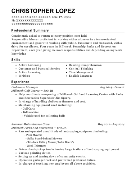 Best Clubhouse Manager Resumes | ResumeHelp