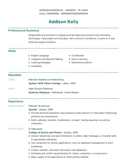 hassan sleiman telecom technician resume sample
