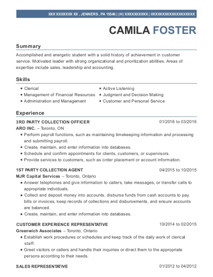 Aro Inc 3rd Party Collection Officer Resume Sample - Jenners ...