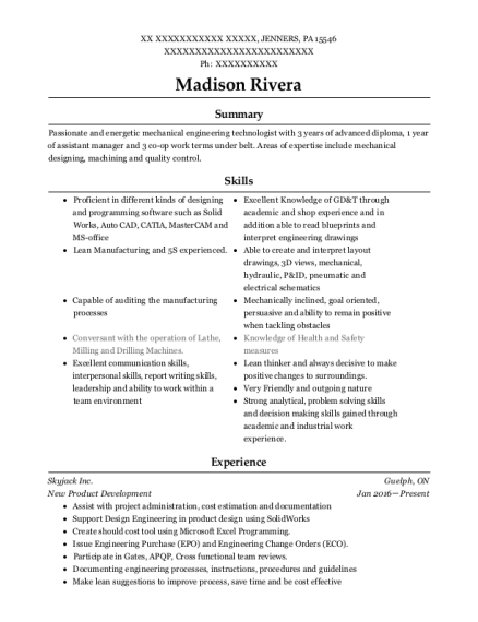 Skyjack Inc New Product Development Resume Sample - Jenners ...