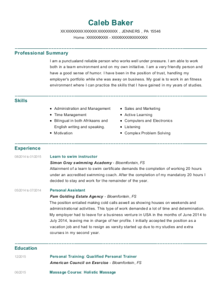 caleb baker - Swim Instructor Resume