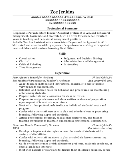 Paraprofessional , Day Care Supervisor. Customize Resume · View Resume