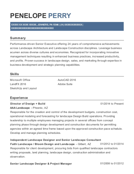 Aaa Landscape Director Of Design Build Resume Sample - Jenners ...