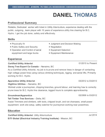 view resume certified utility arborist