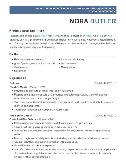 Best Butcher/manager Resumes | ResumeHelp