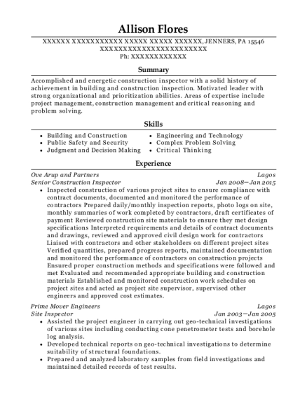 Allison Flores  Construction Inspector Resume