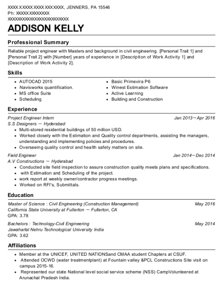 S S Designers Project Engineer Intern Resume Sample Jenners