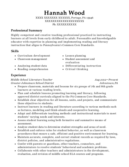 View Resume. Middle School Literature Teacher  Reading Teacher Resume