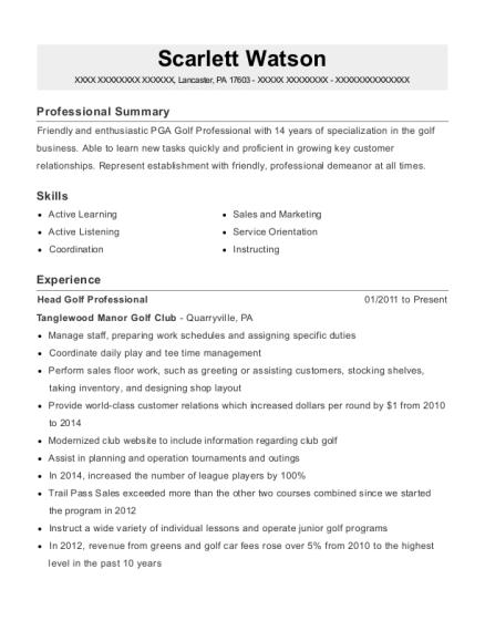 best head golf professional resumes resumehelp
