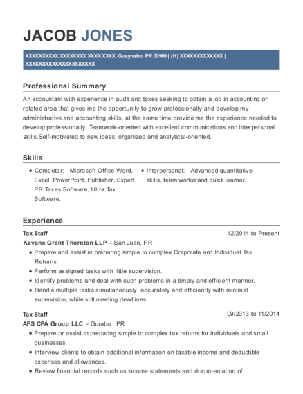 Best Tax Internship Resumes | ResumeHelp