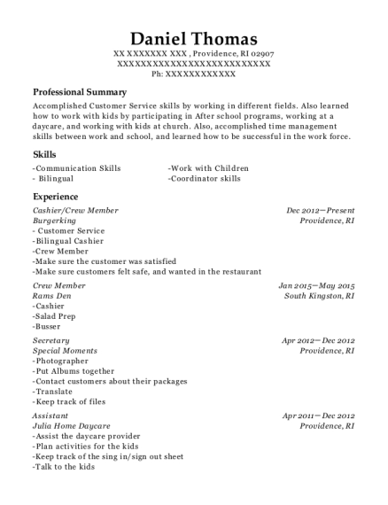 chipotle mexican grill cashier  crew member resume sample
