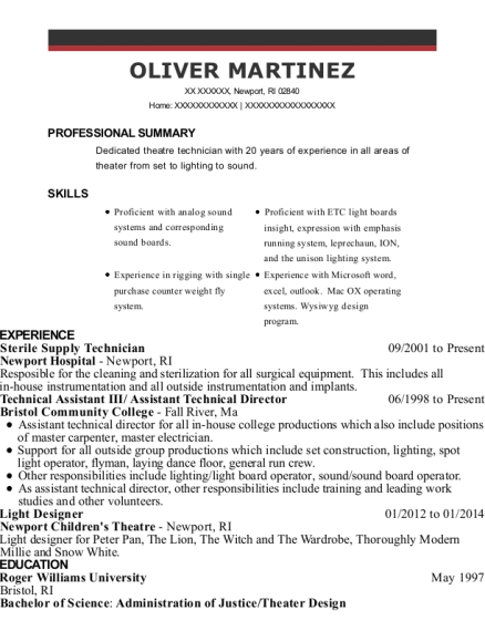 View Resume Sterile Supply Technician