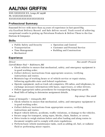 amazon flex driver resume sample