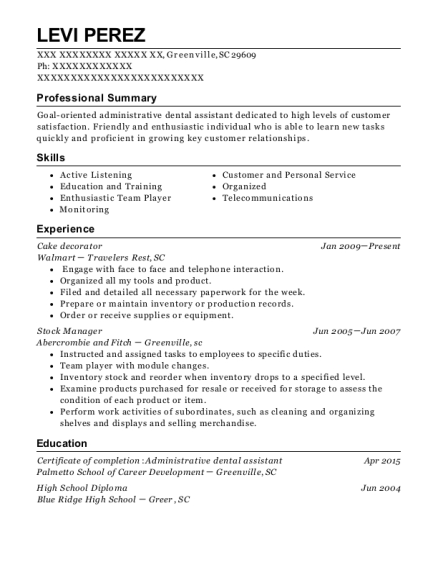 view resume cake decorator