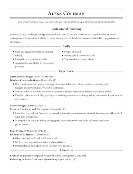 t mobile retail store manager resume sample puyallup washington