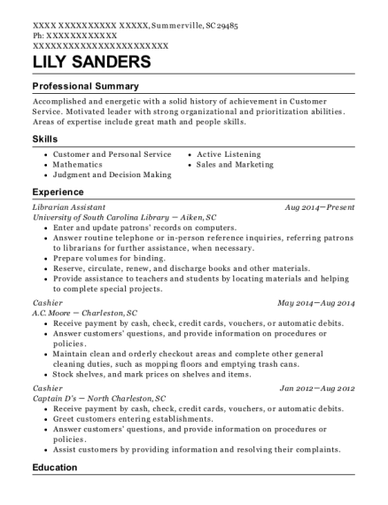 library assistant resume example