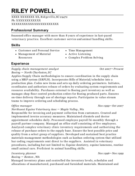 riley powell - Supply Chain Analyst Resume