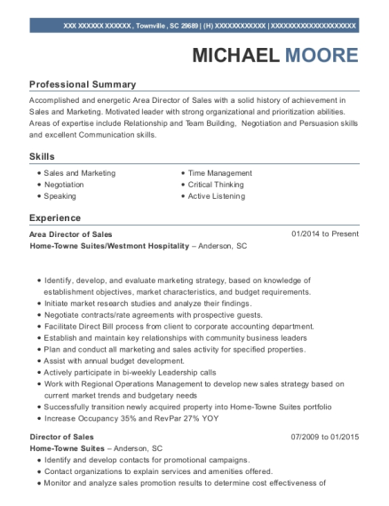 View Resume. Area Director Of Sales