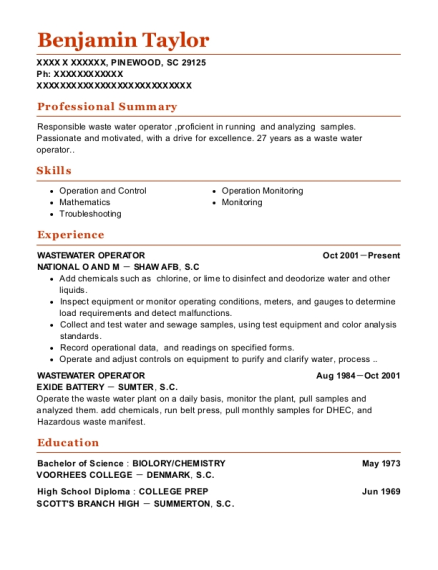 National O And M Wastewater Operator Resume Sample - Pinewood South ...