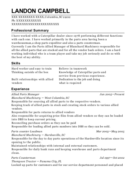landon campbell - Parts Manager Resume