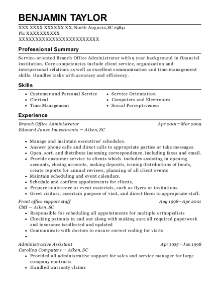 branch office administrator resume