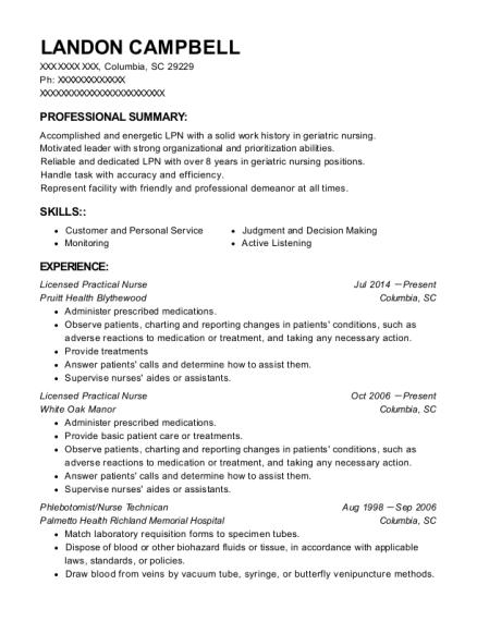 Best Licensed Practical Nurse Resumes in Columbia South Carolina ...