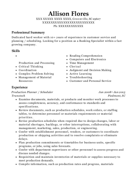 Transtech Production Planner Scheduler Resume Sample Greenville