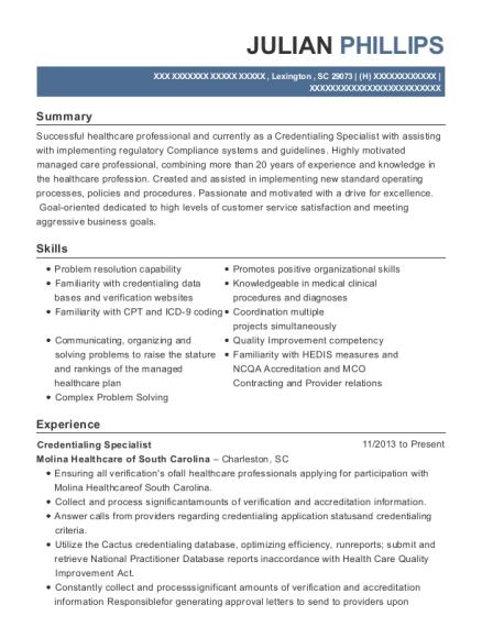 credentialing specialist resume