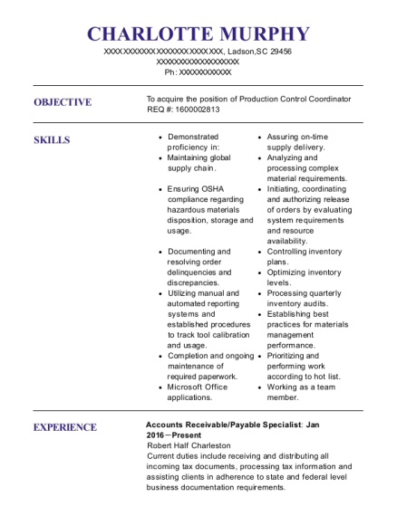 Charlotte Murphy  Accounts Receivable Specialist Resume