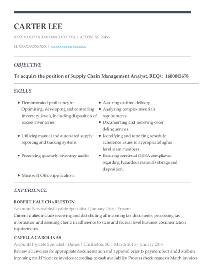 Carter Lee  Accounts Receivable Specialist Resume
