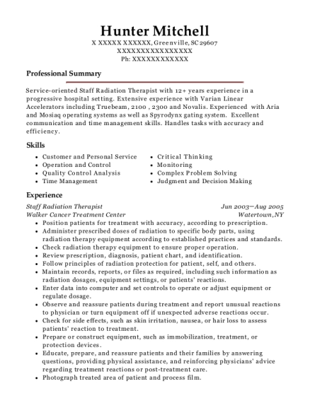 View Resume. Staff Radiation Therapist  Radiation Therapy Resume
