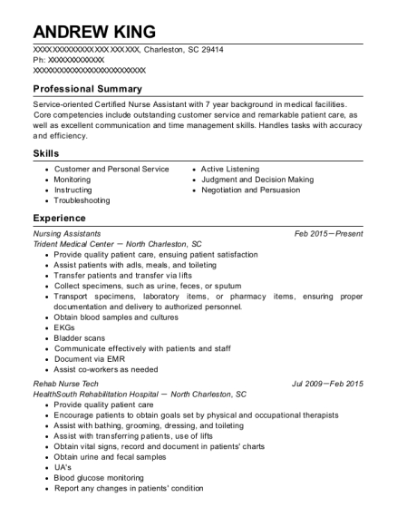 andrew king - Nurse Technician Resume