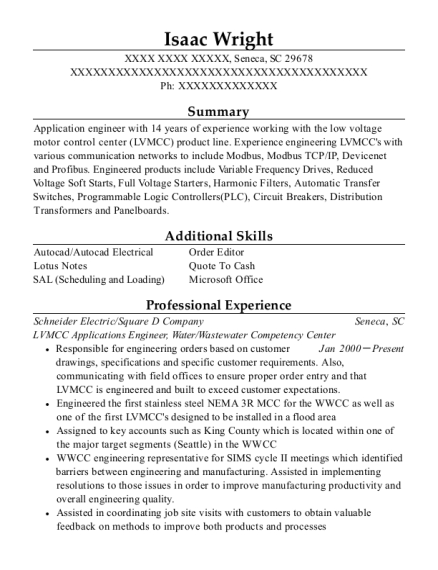 Schneider Electric Lvmcc Applications Engineer Resume Sample ...