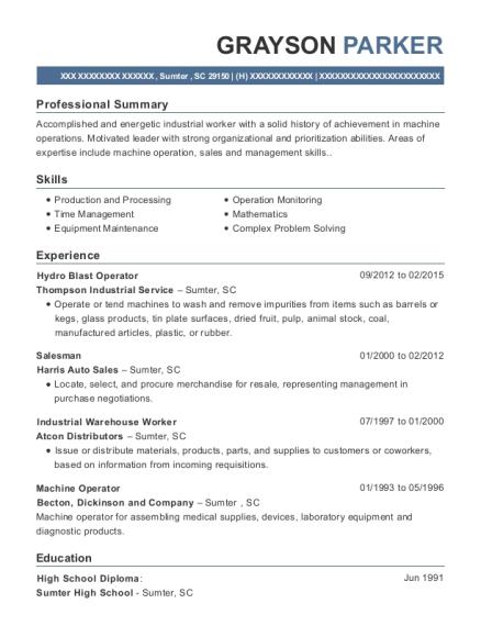thompson industrial service hydro blast operator resume sample