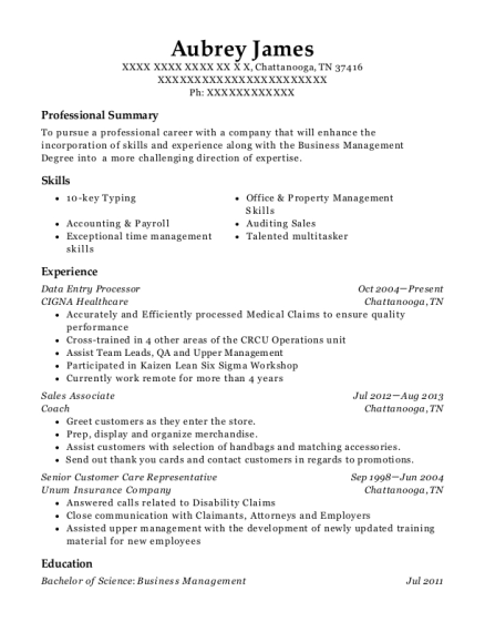 aubrey james - Data Processor Resume