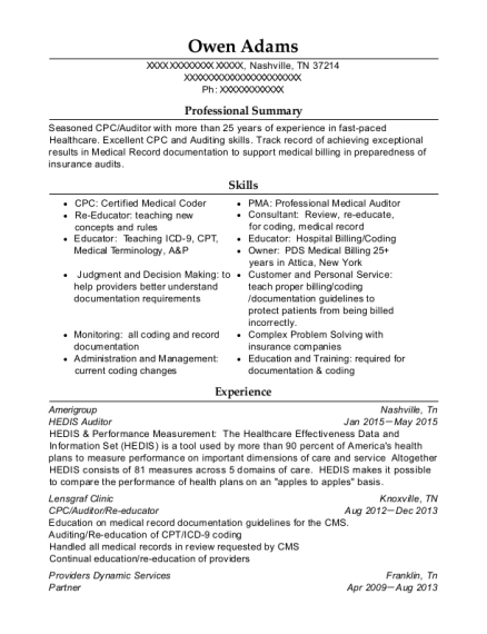 amerigroup hedis auditor resume sample