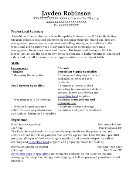 Us Army Food Service Specialist Resume Sample