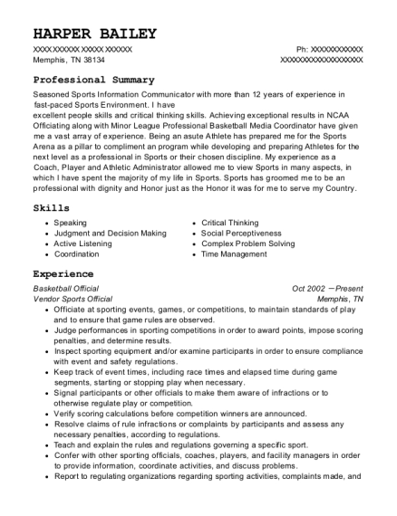 the gym basketball official resume sample