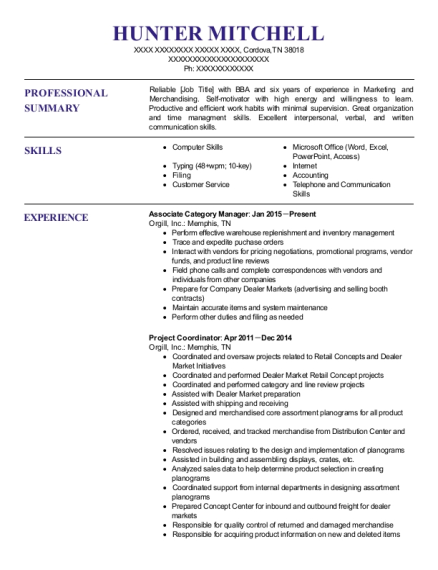 Orgill Associate Category Manager Resume Sample - Cordova Tennessee ...