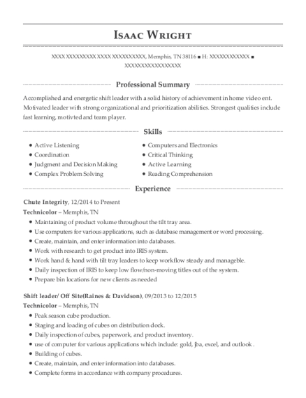 Technicolor Chute Integrity Resume Sample - Memphis Tennessee ...