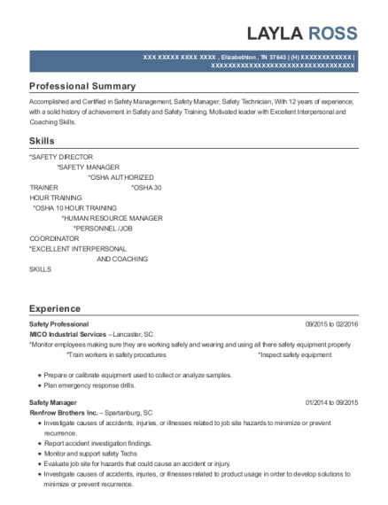 Layla Ross  Safety Professional Resume