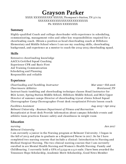 Best Cheerleading And Tumbling Instructor Resumes | ResumeHelp