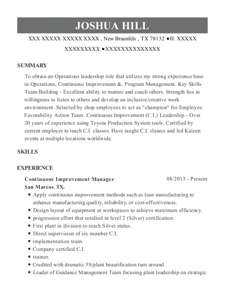 Best Continuous Improvement Manager Resumes | ResumeHelp