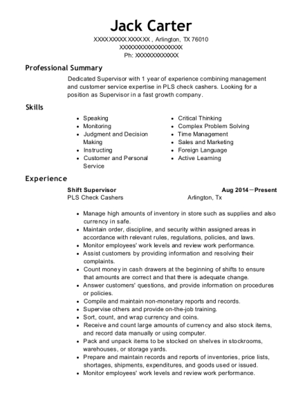 cvs shift supervisor resume sample