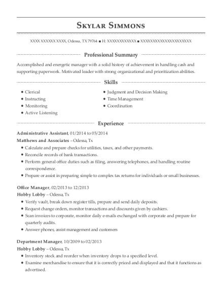 Best Administrative Assistant Resumes In Texas