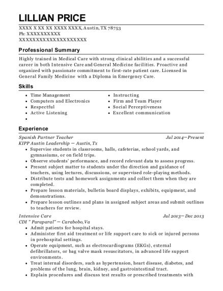 Kipp Austin Leadership Spanish Partner Teacher Resume Sample