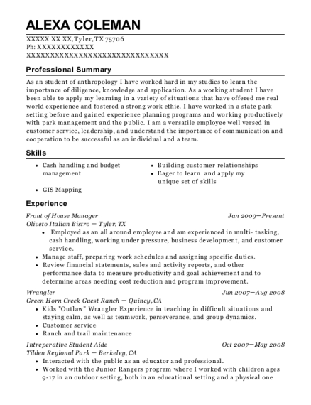 best front of house manager resumes resumehelp