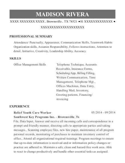 Best Relief Youth Care Worker Resumes