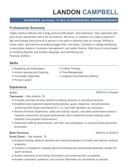 Townepark Gsc Resume Sample - San Antonio Texas | ResumeHelp
