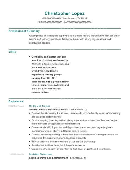 Seaworld Parks And Entertainment On The Job Trainer Resume Sample ...